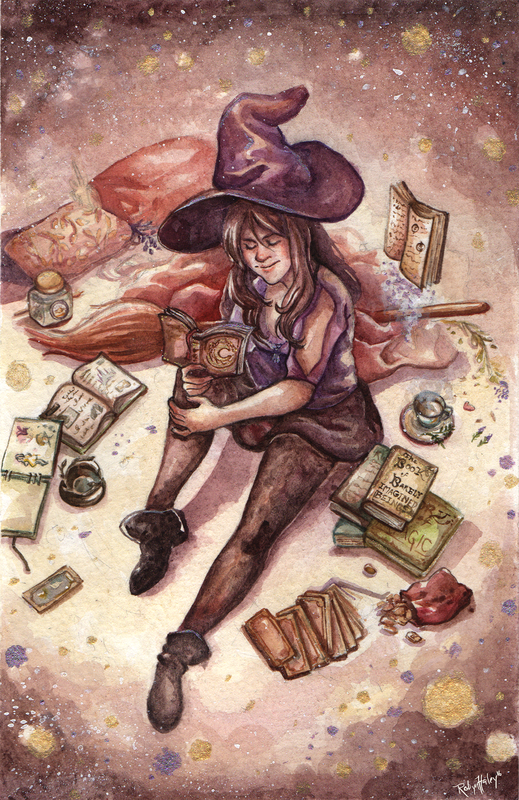 Personal study- self portrait in watercolor. A woman in purple clothes and a witch's hat reads a book while surrounded by everyday magical implements.